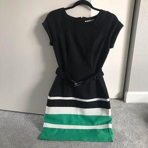 Black Dress w/ Green & White Stripes & Belt